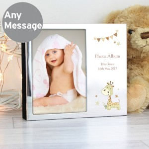 Personalised Hessian Giraffe Photo Frame Album 4x6
