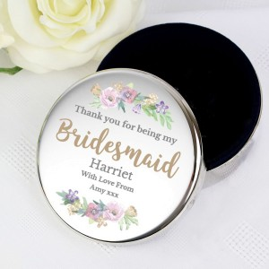 "Personalised Bridesmaid ""Floral Watercolour Wedding"" Round Trinket Box"