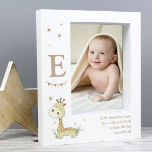 Personalised Hessian Giraffe 7x5 Box Photo Frame