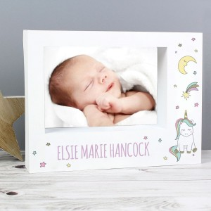 Personalised Baby Unicorn 7x5 Landscape Box Photo Frame