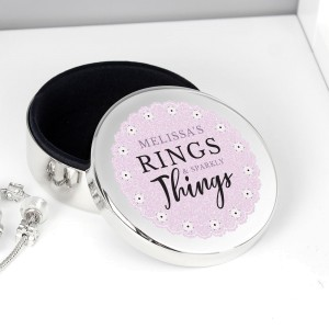 """Personalised Lilac Lace """"Rings & Sparkly Things"""" Round Trinket Box"""