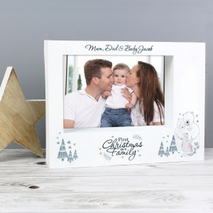 "Personalised Polar Bear ""1st Christmas As A Family"" 7x5 Box Photo Frame"