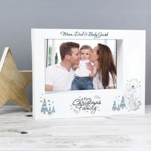 "Personalised Polar Bear ""1st Christmas As A Family"" 7x5 Box Photo Frame"
