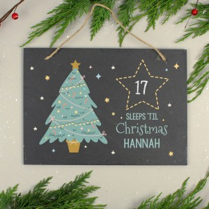 Personalised Christmas Countdown Hanging Large Slate Sign