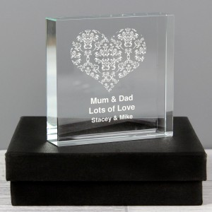 Personalised Damask White Heart Large Crystal Token
