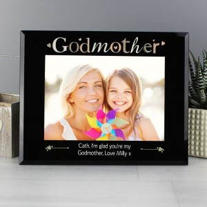Personalised Godmother Black Glass 7x5 Photo Frame
