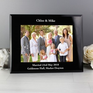 Personalised Landscape Black Glass Photo Frame 7x5