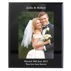 Personalised 5x7 Black Glass Photo Frame