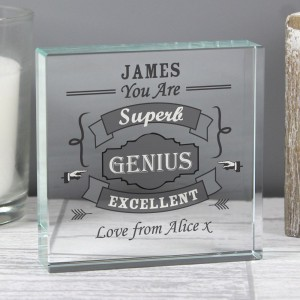 Personalised Vintage Typography Large Crystal Token