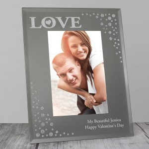 Personalised LOVE 6x4 Diamante Glass Photo Frame