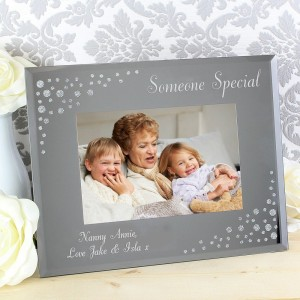Personalised Any Message 6x4 Landscape Diamante Glass Photo Frame