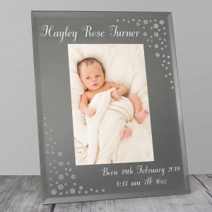 Personalised Any Message Diamante 4x6 Portrait Glass Photo Frame