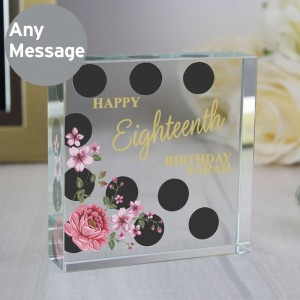 Personalised Floral Dot Large Crystal Token