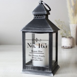 Personalised Elegant Diamond Rustic Black Lantern