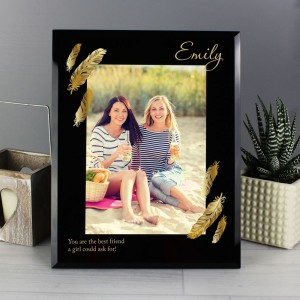 Personalised Golden Feather 5x7 Black Glass Photo Frame