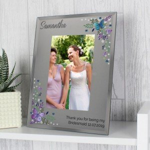 Personalised Butterfly 4x6 Diamante Glass Photo Frame
