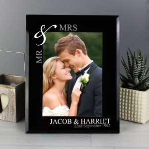 Personalised Silver Couples 7x5 Black Glass Photo Frame