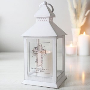 Personalised Floral Cross White Lantern