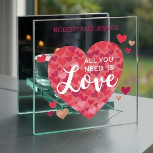 "Personalised ""All You Need is Love"" Confetti Hearts Glass Tea Light Candle Holder"