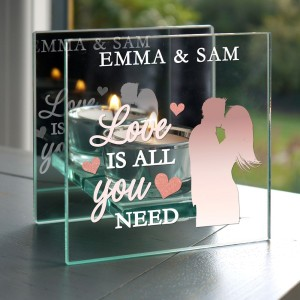 "Personalised ""Love is All You Need"" Mirrored Glass Tea Light Candle Holder"
