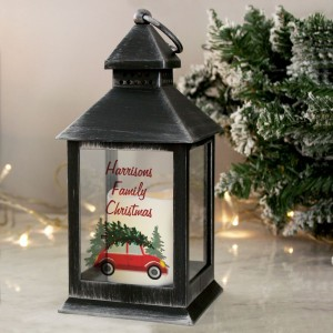 "Personalised ""Driving Home For Christmas"" Rustic Black Lantern"