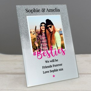 "Personalised ""Bestie"" 4x4 Glitter Glass Photo Frame"