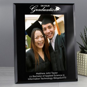 Personalised Graduation Black Glass 5x7 Photo Frame