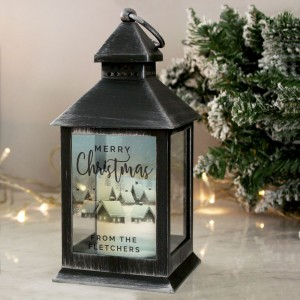 Personalised Town Christmas Rustic Black Lantern