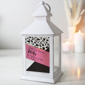 Personalised Pink & Black White Lantern