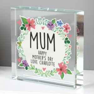 Personalised Floral Large Crystal Token