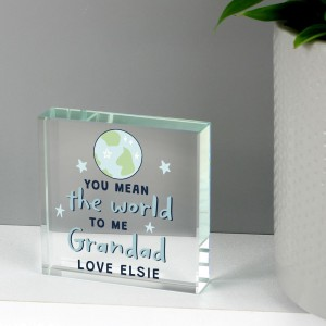 Personalised You Mean The World To Me Large Crystal Token