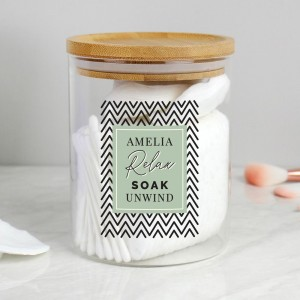 Personalised Free Text Glass Jar with Bamboo Lid