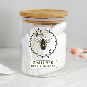 Personalised Bee Glass Jar with Bamboo Lid