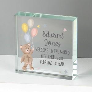 Personalised Teddy & Balloons Large Crystal Token