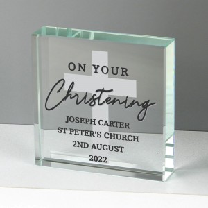 Personalised On Your Christening Large Crystal Token
