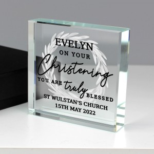 """Personalised """"Truly Blessed"""" Large Crystal Token"""
