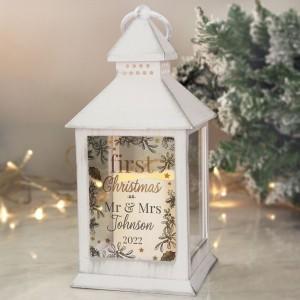 Personalised First Christmas White Lantern