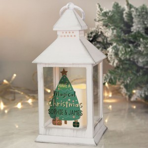 Personalised Have A Magical Christmas White Lantern