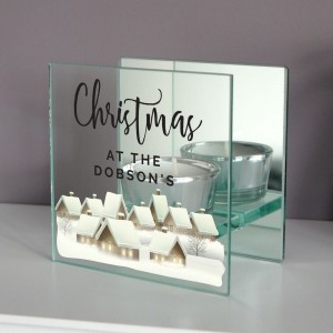 Personalised Christmas Village Mirrored Glass Tea Light Candle Holder