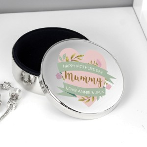 Personalised Floral Heart Mothers Day Round Trinket Box
