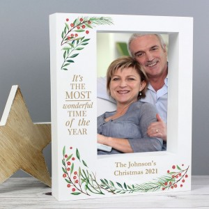 "Personalised ""Wonderful Time of The Year Christmas"" 7x5 Box Photo Frame"