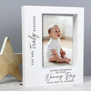 "Personalised ""Truly Blessed"" Naming Day 7x5 Box Photo Frame"