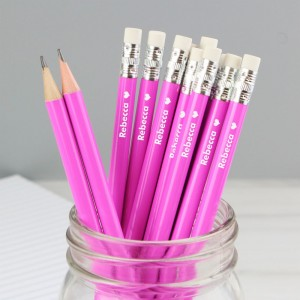 Personalised Heart Motif Pink Pencils