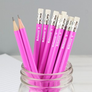 Personalised Snowflake Motif Pink Pencils