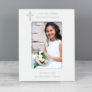 Personalised Cross White 6x4 Photo Frame
