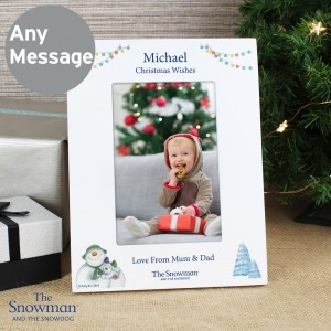 Personalised The Snowman and the Snowdog White 6x4 Photo Frame