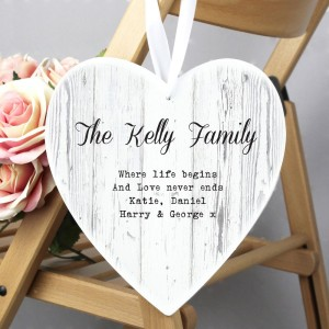 Personalised Rustic Large Wooden Heart Decoration