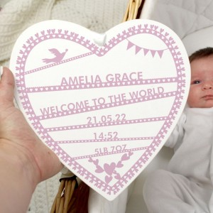 Personalised Pink Papercut 22cm Large Wooden Heart Decoration