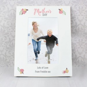 Personalised Floral Bouquet Mothers Day 6x4 Photo Frame