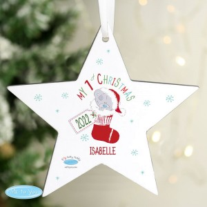 Personalised Tiny Tatty Teddy My 1st Christmas Stocking Wooden Star Decoration